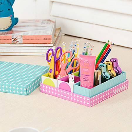 畸良纸质DIY格子收纳盒 糖果盒 首饰盒6格桌面整理收纳盒 3只装