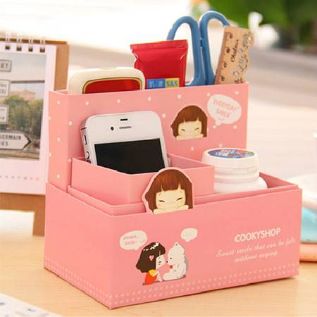 畸良韩国可爱卡通小妞子纸质笔筒DIY桌面收纳盒(粉色)一只装