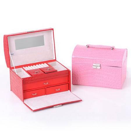 开馨宝欧式经典首饰收纳盒/珠宝盒/化妆盒-大红色鳄鱼纹(K8510-1)