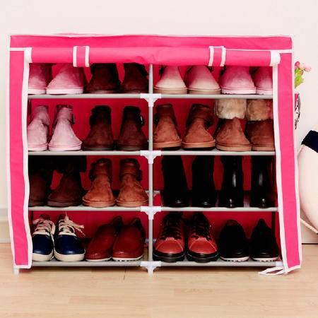 收纳双排五层四格简易鞋柜宜家多功能无纺布防尘鞋橱鞋架 玫红色