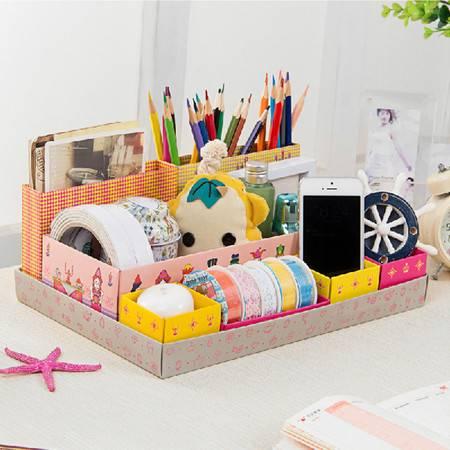 畸良 7格桌面收纳盒 七格整理盒 化妆品收纳盒 桌面储物盒  杂物文具七格整理盒 (国王)5只装