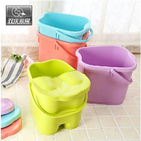 双庆新品加厚加高洗脚桶塑料足浴桶足浴盆加深洗脚盆带盖子 绿色