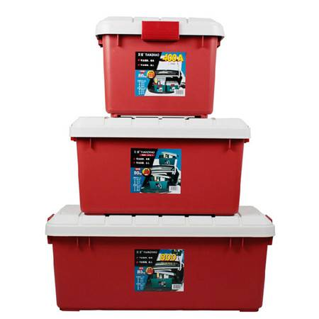 圣强 汽车收纳箱 后备箱整理箱储物箱 工具箱 置物箱塑料62*37*34cm(大号)红色
