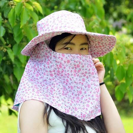 户外防紫外线遮阳帽 采茶帽--粉色小碎花