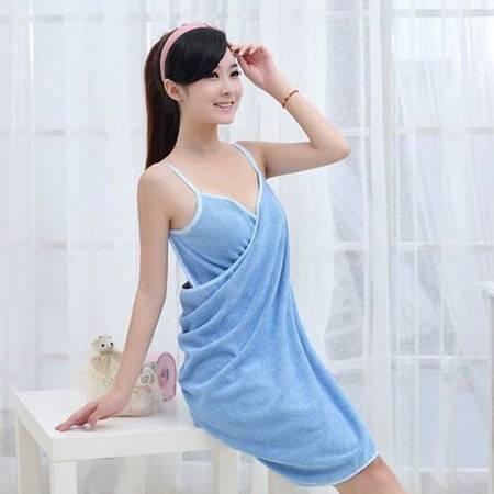 浴巾 情侣浴袍 可穿的浴巾浴衣浴袍 140*70cm 蓝色