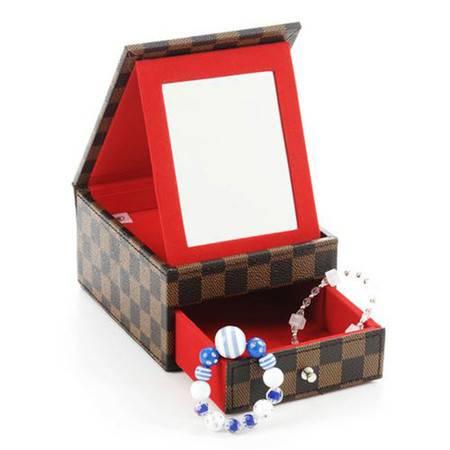 开馨宝 大镜子抽屉式首饰盒/储物盒/化妆品盒-咖啡色格子(K8511-1)