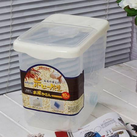 圣强 大号米桶保鲜大米透明储米器储米箱带滑轮送量杯 可装30斤 白色