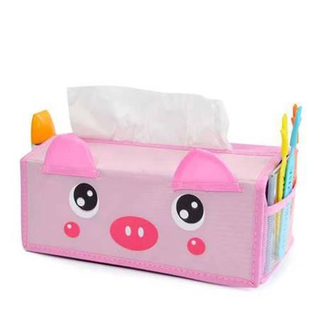 开馨宝可爱动物长形纸巾盒/纸巾抽-粉猪(K8220)