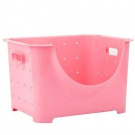 圣强 家居收纳可叠加果蔬箱收纳箱水果收纳筐果蔬 收纳篮(大号单个)36*28*23cm粉色
