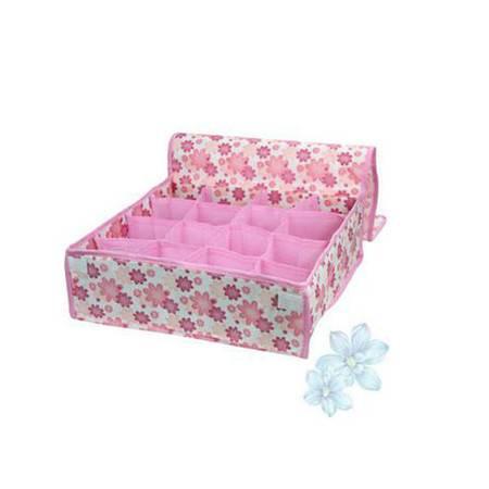 印花16格 软盖收纳盒 内衣收纳盒 杂物收纳盒 粉色
