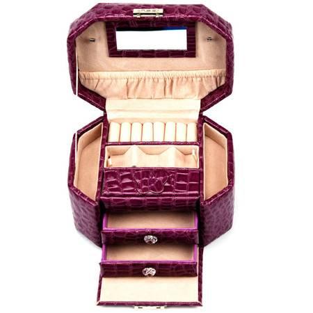 开馨宝欧式经典八角三层首饰盒/饰品收纳盒-紫色鳄鱼纹(K8525-1)