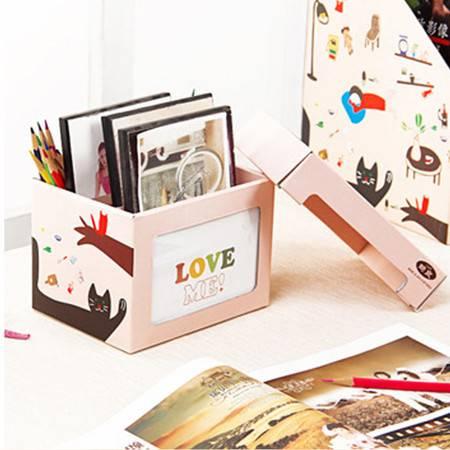畸良 小女孩系列多功能自制相片文具笔筒杂物 可分类收纳整理盒  2只装