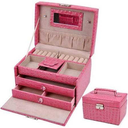开馨宝PU方形三层大容量首饰盒/饰品收纳盒-粉色(K8524-3)