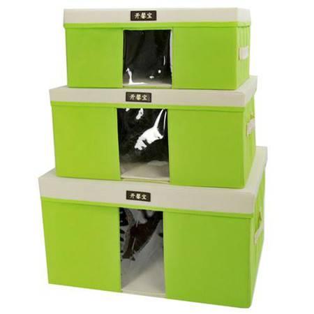 开馨宝毛衣收纳箱/带盖可视衣物整理箱三件套--草绿色(K822