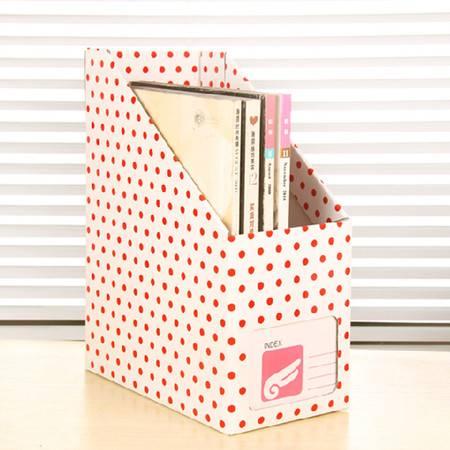 畸良 韩版创意红点纸质书本文具 桌面收纳盒桌面整理盒文件收纳盒(大号红点) 3只装