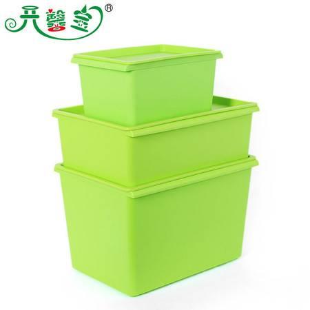 开馨宝炫彩带盖收纳箱三件套-绿色(K8243-2)