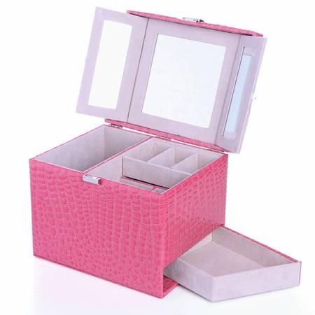 开馨宝欧式可侧拉首饰盒--粉色鳄鱼纹(K8535-2)