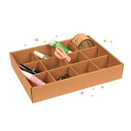 畸良 JR970 环保再生牛皮纸12格收纳盒 桌面杂物整理盒  一只装