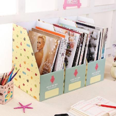 (大号A4)畸良 卡通文具纸质 办公A4文件收纳 桌面收纳盒桌面整理盒文件收纳盒(卡通黄蓝) 一只装