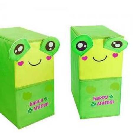 开馨宝可爱动物双层双抽屉储物柜/收纳柜/整理柜青蛙