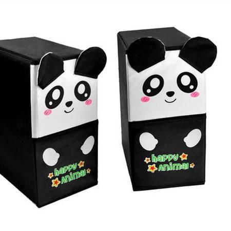 开馨宝可爱动物双层双抽屉储物柜/收纳柜/整理柜-黑色抽屉熊猫