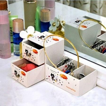 开馨宝小熊系列双格抽屉+3分格多用途桌面收纳盒杂物整理盒首饰盒