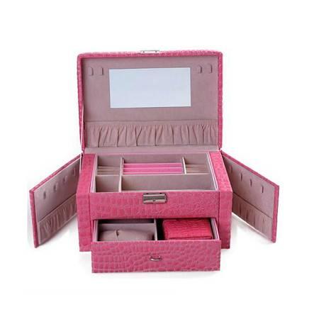 开馨宝欧式可侧开门双层首饰盒-长方粉色(K8529-2)