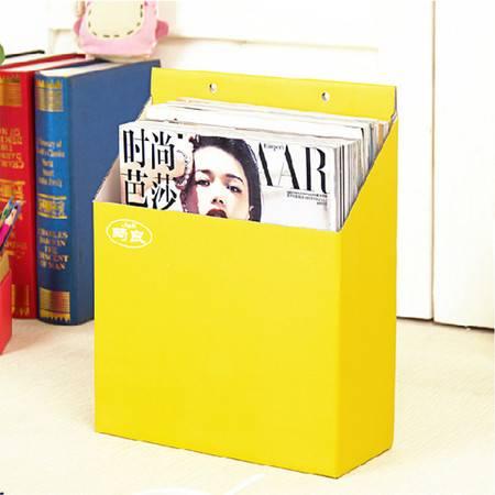 畸良纸质收纳盒文具文件杂物方形收纳盒整理盒 可挂墙收纳盒(黄色) 2只装