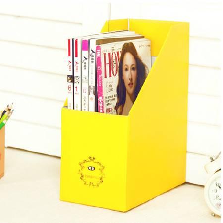 畸良纯色加厚加固甜蜜糖果色桌面文件杂志收纳盒(黄色) 一只装
