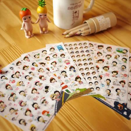 韩国文具 蜜蜂小情侣 透明笔记本手机卡通装饰贴纸 (五个装)
