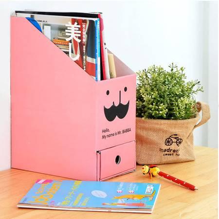 畸良正品桌面文件收纳盒 带抽屉 胡子桌面收纳盒(粉色)  5只装