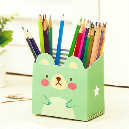 畸良DIY可爱动物桌面收纳盒桌面笔筒纸质文具收纳盒(绿色)2只装