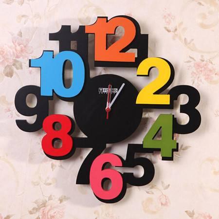 彩色立体数字客厅简约木制挂钟创意 客厅钟表静音欧式