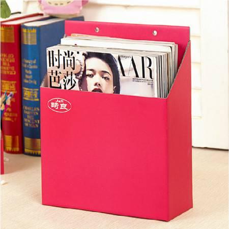 畸良纸质收纳盒文具文件杂物方形收纳盒整理盒 可挂墙收纳盒(红色)3只装