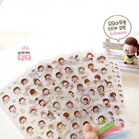 韩国Momoi女孩贴纸 第三辑可爱创意卡通饼干女孩贴纸 一套6张