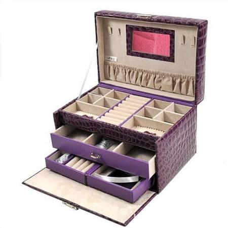 开馨宝PU三层容量首饰盒/饰品收纳盒-紫色(K8521-1)