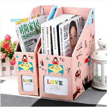 畸良韩国DIY 桌面收纳盒桌面整理盒文件收纳盒(大号猫女)2只装