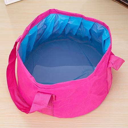 便捷可折叠15升水桶 钓鱼桶 收纳桶 玫红色