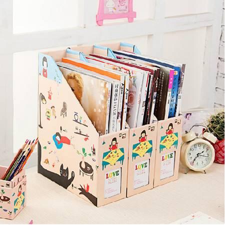 畸良DIY文件盒 桌面收纳盒桌面整理盒文件收纳盒( 小女孩小号) 3只装
