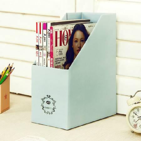畸良纯色加厚加固甜蜜糖果色桌面文件杂志收纳盒(天蓝色) 3只装