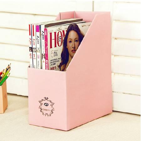 畸良纯色加厚加固甜蜜糖果色桌面文件杂志收纳盒(粉色)一只装