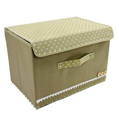 大号扣扣多功能折叠收纳箱/整理箱--米色