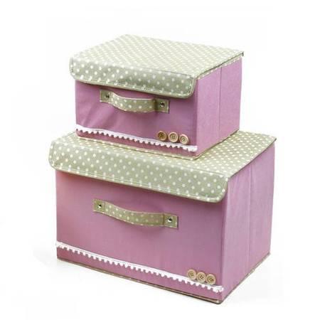 小号扣扣多功能折叠收纳箱/整理箱 粉色