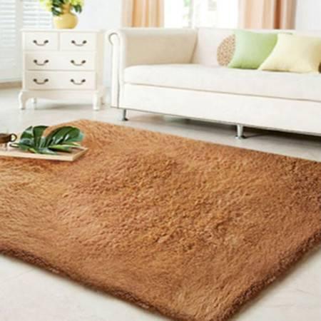 普润 顺滑丝毛 客厅地毯 茶几地毯 卧室地毯 80*120咖啡色