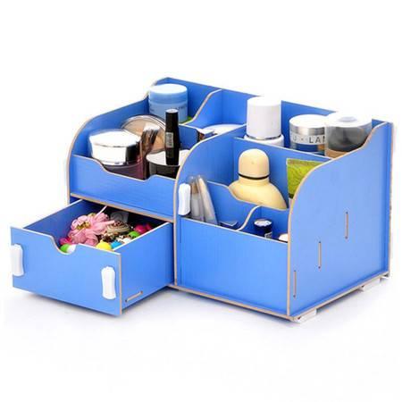 实用二代单抽屉木质收纳盒化妆盒蓝色