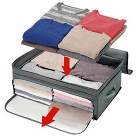 木晖 增高增量竹炭可视衣物四格收纳箱 整理袋 130L 颜色随机发货