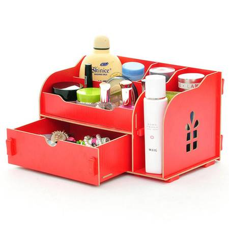 实用二代开侧窗大抽屉木质收纳盒/化妆盒--红色