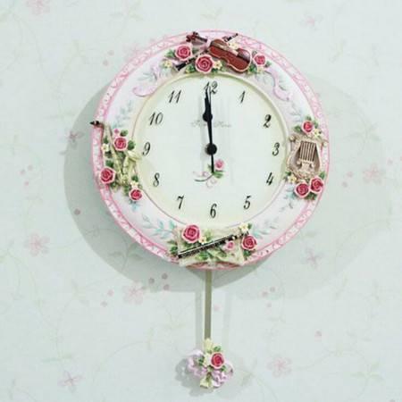 欧式田园 乐器玫瑰浪漫味道时尚小花钟树脂壁饰挂钟