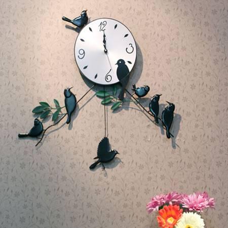 时尚可爱 家居装饰 雀鸣枝头铁艺挂钟/客厅挂钟/钟表