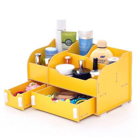 实用二代一大一小B款双抽屉木质收纳盒/化妆盒--黄色